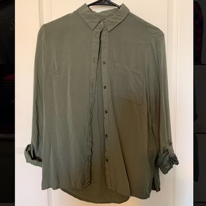 Army Green Divided Button Down
